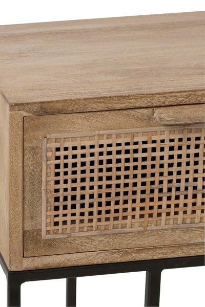 Console mango wood woven reed