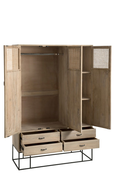 Cupboard mango wood woven reed doors