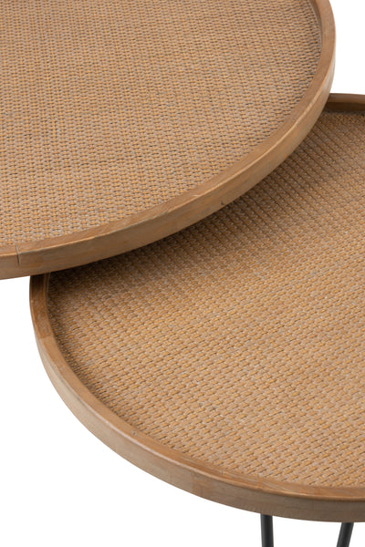 Side table rattan top set of 2