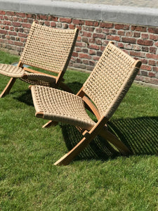 Teak chair woven seat outdoor foldable - Zetuké Home Decor