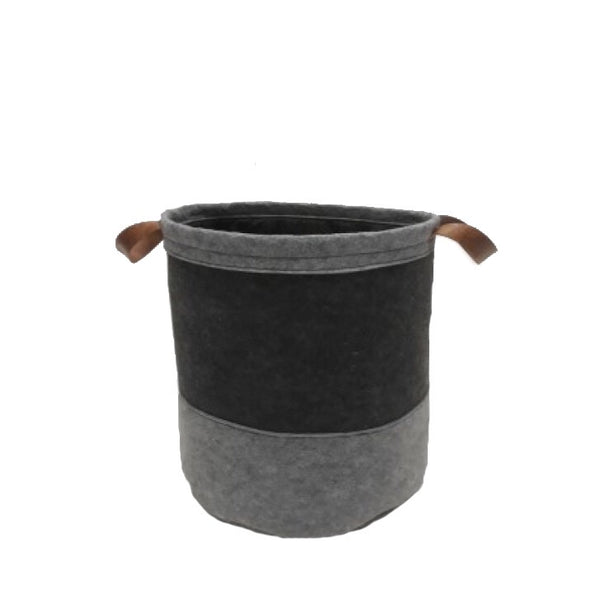 Grey laundry basket with leather handles - Zetuké Home Decor