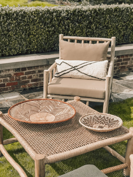 Outdoor sofa teak beige pillows included