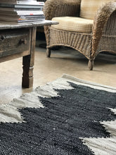 Load image into Gallery viewer, Leather rug broken white with black center - Zetuké Home Decor