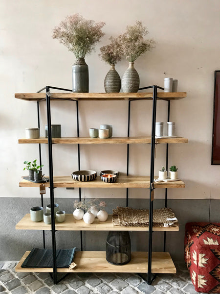 Wooden rack with steel construction - Zetuké Home Decor
