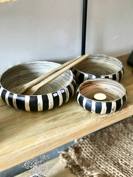 Bamboo bowls striped set of 3 - Zetuké Home Decor