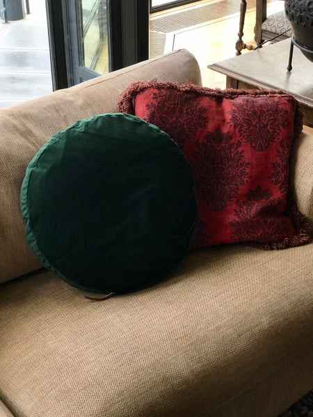 Pillow green velvet round - Zetuké Home Decor