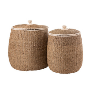 Natural laundry basket with lid set of 2
