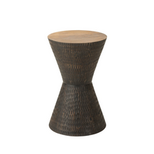 Load image into Gallery viewer, Stool mango wood hourglass shape