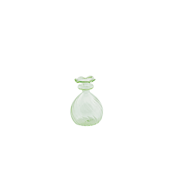 Green glass vase round