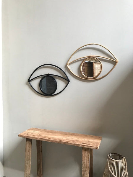 Rattan mirror eye black - Zetuké Home Decor