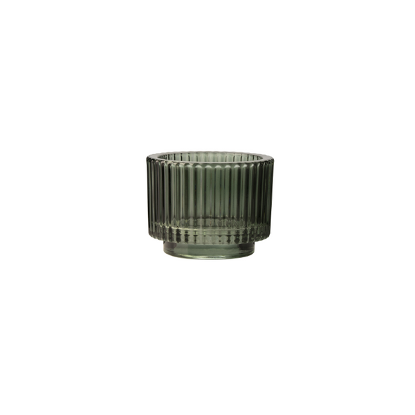 Candle holder ridges green