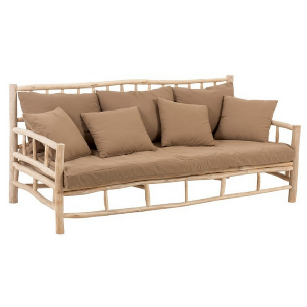 Outdoor teak 3 seater sofa beige pillows included