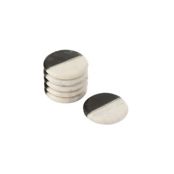 Marble coasters black and white set of 6