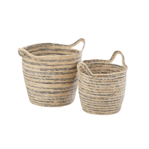 Basket with handles striped set of 2