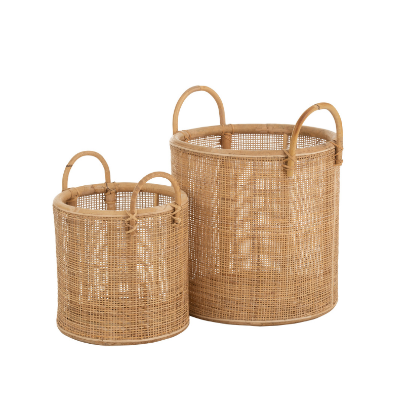 Basket rattan with handles set of 2