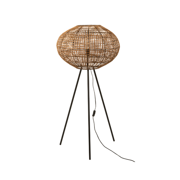 Rattan floor lamp natural