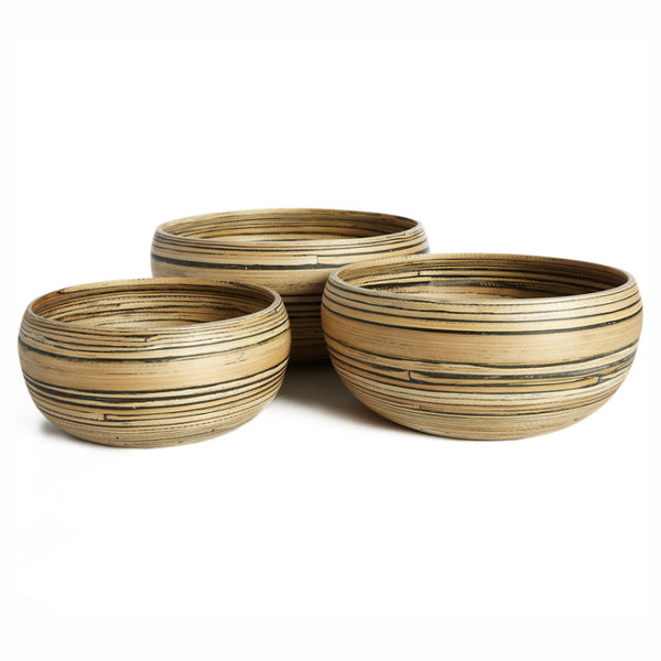 Set of 3 round natural and black bamboo bowls - Zetuké Home Decor