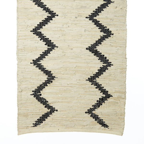 Leather rug broken white with black lines - Zetuké Home Decor