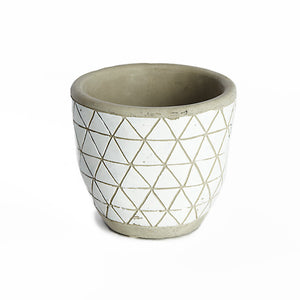 Flower pot grey with patterns - Zetuké Home Decor