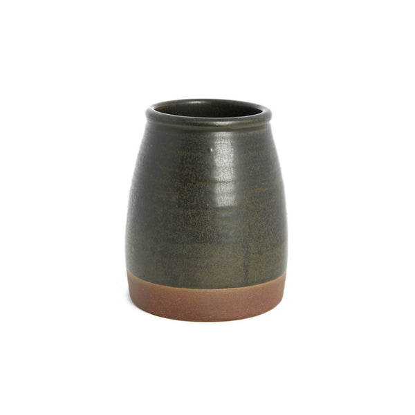 Ceramic vase/container black with brown border - Zetuké Home Decor