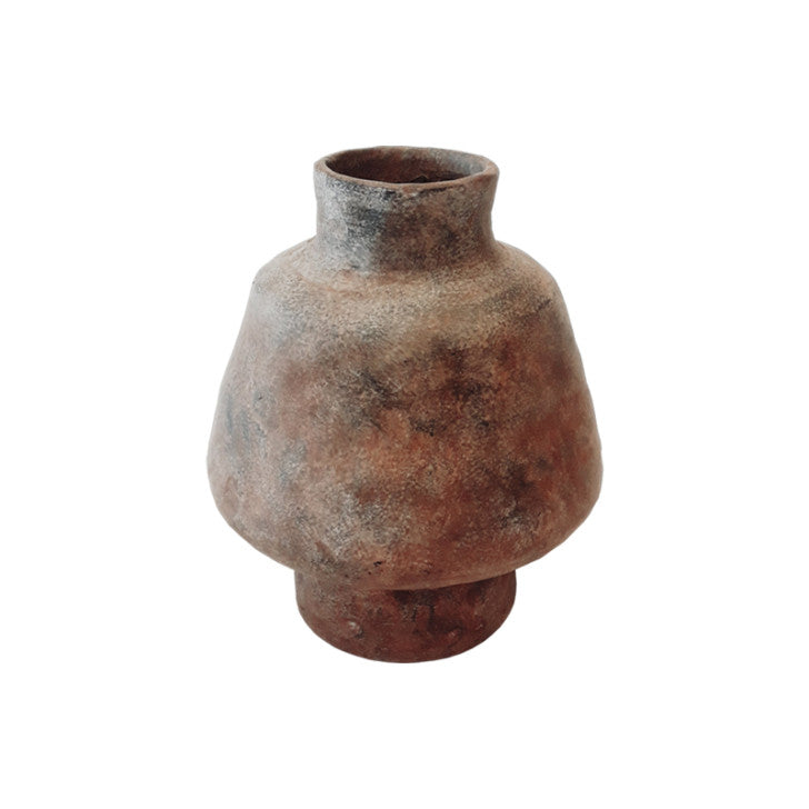 Ceramic vase brown oblong