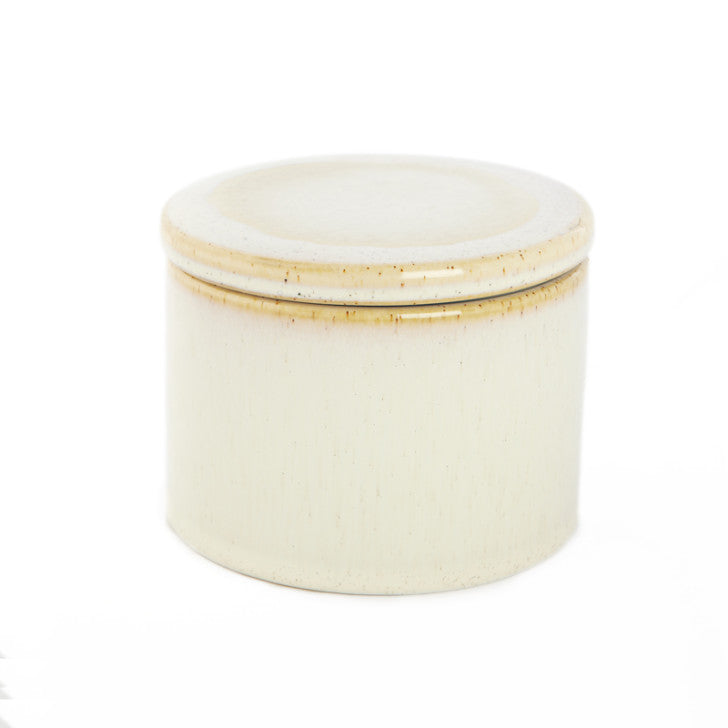 Small broken white ceramic jar with lid - Zetuké Home Decor