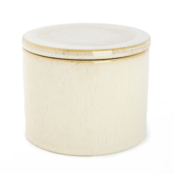 Ceramic jar with lid off white big - Zetuké Home Decor