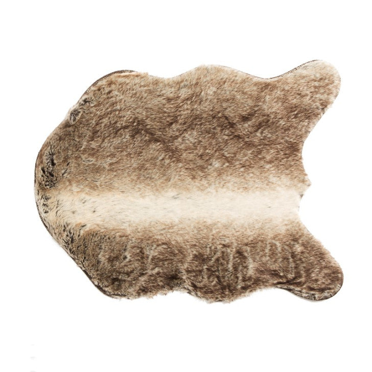 Faux fur rug brown with white stripe - Zetuké Home Decor