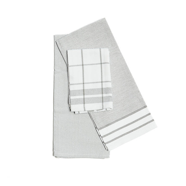 Kitchen towels grey and white set of 3 - Zetuké Home Decor