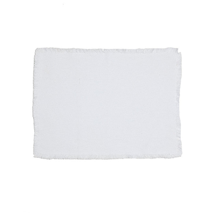 White placemat with fringes - Zetuké Home Decor
