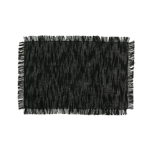 Line placemat with fringes black set of 6