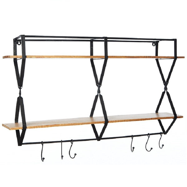 Rack with hooks wood - Zetuké Home Decor
