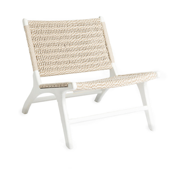 Lounge chair white and beige - Zetuké Home Decor