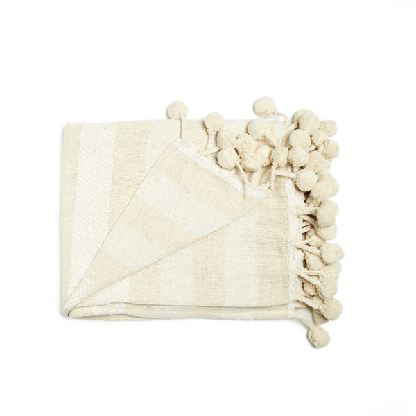 Beige throw blanket with big white stripes - Zetuké Home Decor