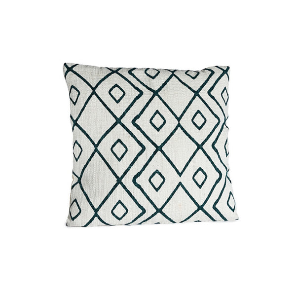 Cushion cover white with blue patterns - Zetuké Home Decor