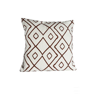 Cushion cover white with brown/red patterns - Zetuké Home Decor