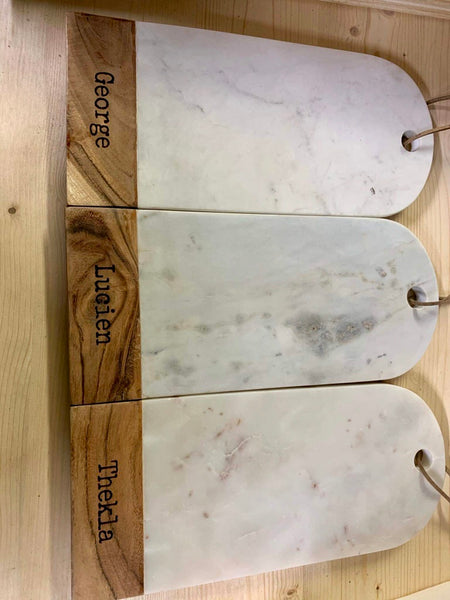 White marble and wood cutting board - Zetuké Home Decor