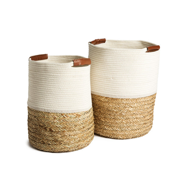 Seagrass laundry basket with leather handles - Zetuké Home Decor