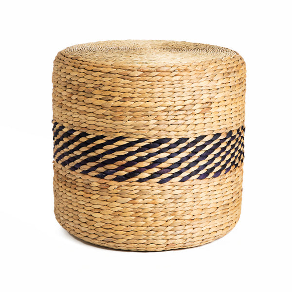 Jute pouf with dark blue details - Zetuké Home Decor