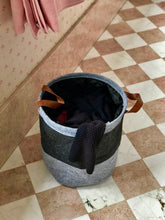 Load image into Gallery viewer, Grey laundry basket with leather handles - Zetuké Home Decor
