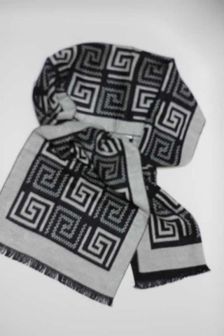 Scarves - Grey Greek Key Pattern
