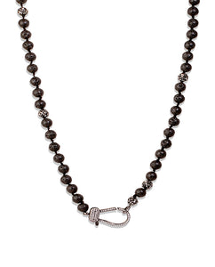 Black Agate Beaded Clasp Necklace