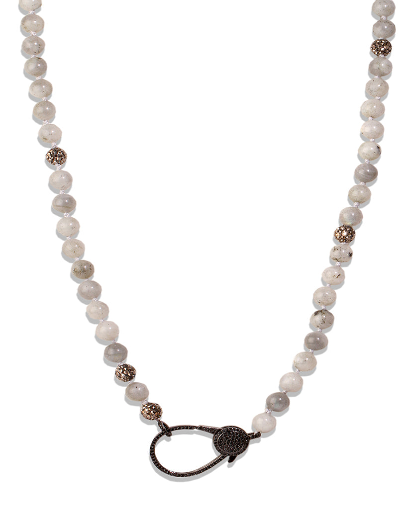 Keep Calm White Agate Necklace