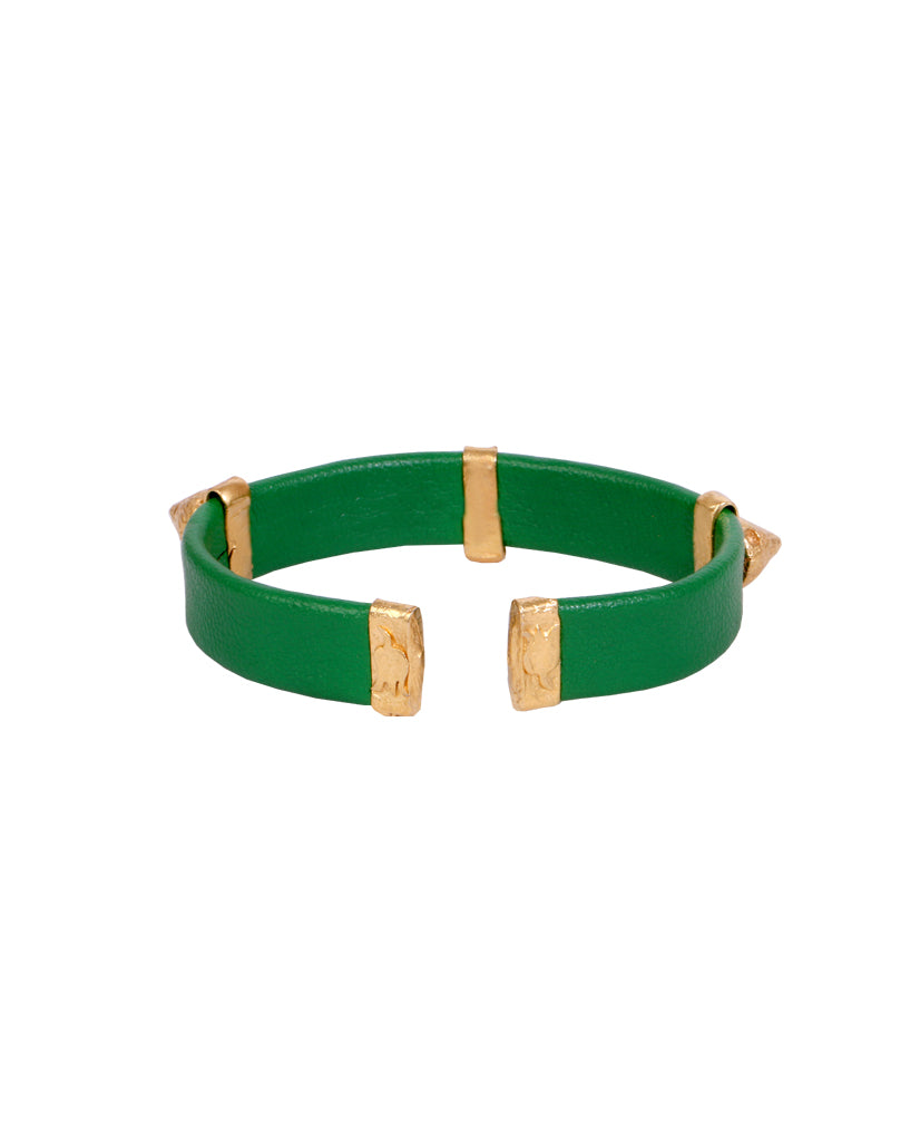 Emerald and Gold Spike Bracelet