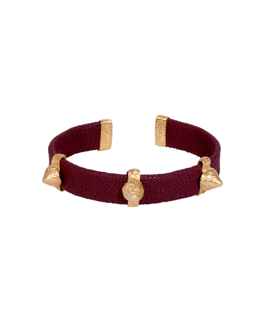 Maroon and Gold Spike Bracelet