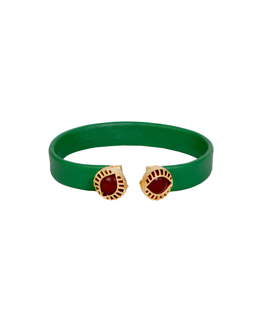 Dual Emerald and Maroon Bracelet
