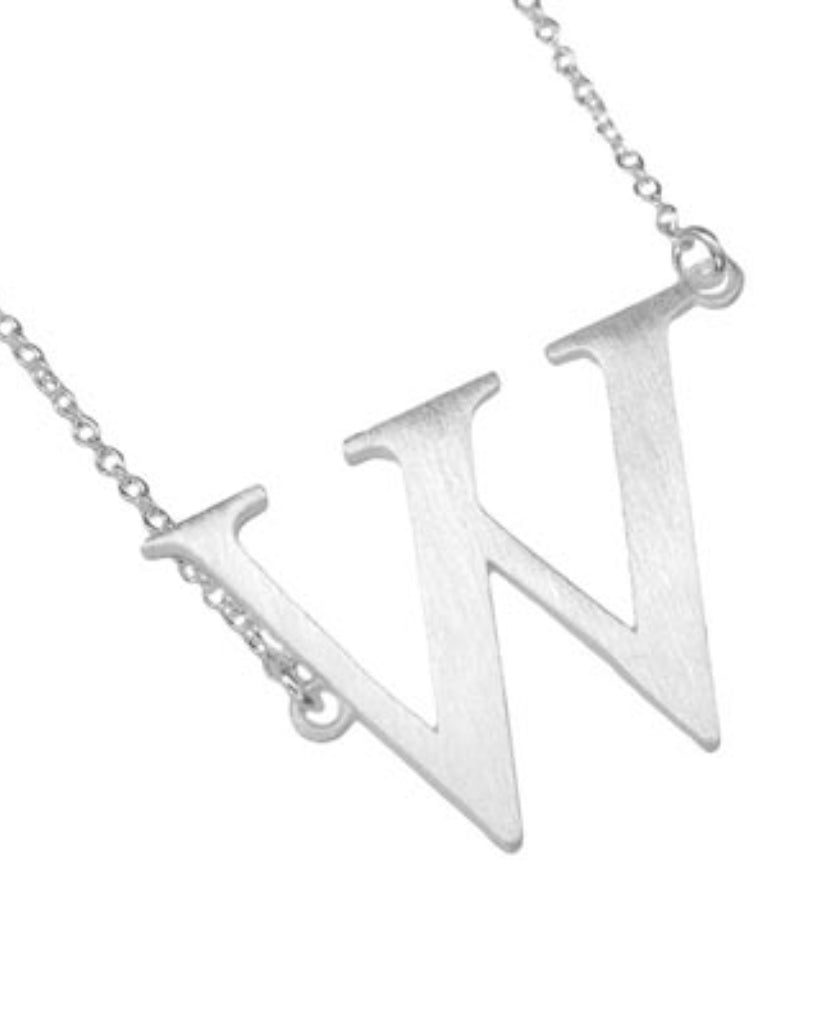 Bold Initial 'W' Necklace