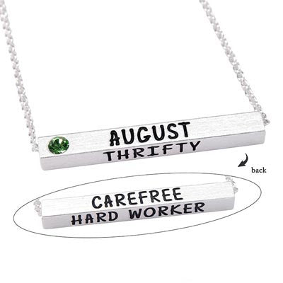 August Birthstone 4D Bar Necklace