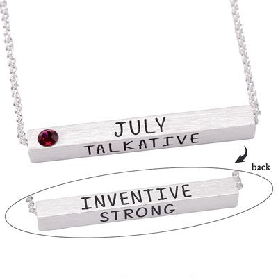 July Birthstone 4D Bar Necklace