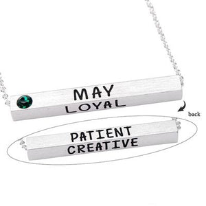 May Birthstone 4D Bar Necklace